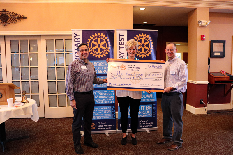 The Rotary Club of Lake Norman - Huntersville was proud to present a donation of $10,000 to the Hope House Foundation on Jan 16th, 2020. The donation was received by the Executive Director Debbie O'Handley. The Hope House Foundation is one of the ben